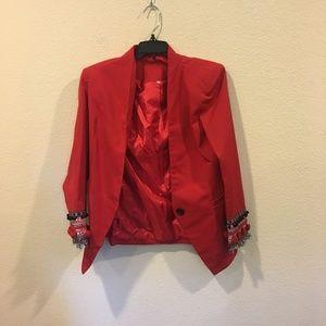Jackets & Blazers - Red blazer with pom pom sleeves